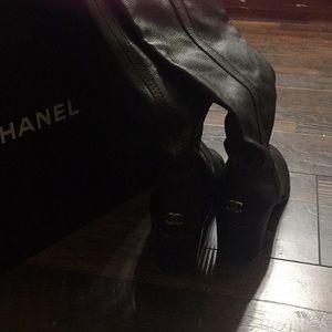 Chanel CC Thigh High Boots